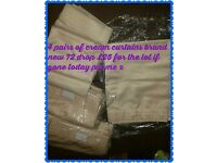 4 pairs of cream curtains brand new