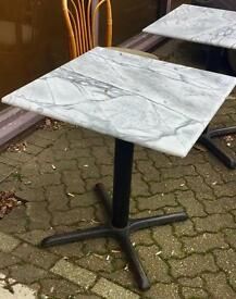 Cafe or Patio carrera marble and cast iron tables