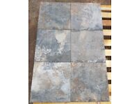TILES JOB LOT 02: Trendy Aged look grey & brown non-slip (R11) porcelain tiles 30m2