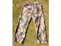 Ladies soft silent fabric over-trousers/Realtree Hardwood camouflage water-proof & breathable