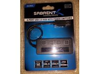 SABRENT 4 PORT USB HUB WITH SWITCHES & LED LIGHTS