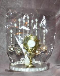 1960'S VTG CHRISTIAN CATHOLIC CAKE TOPPER PLASTIC ALTAR CANDELABRA W CHALICE ihs