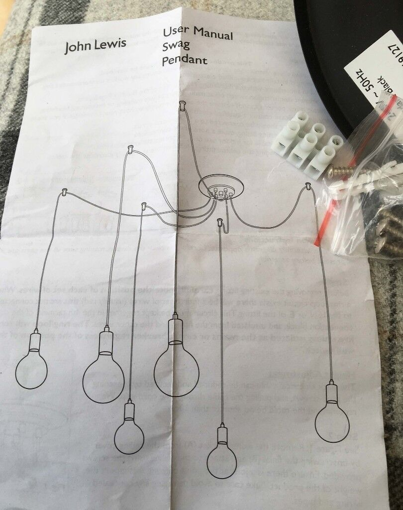Unused John Lewis Pendant Contemporary Design Light Fitting Wiring A Guide For How To Fit Or