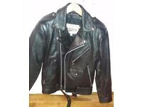 Traditional style genuine biker jacket