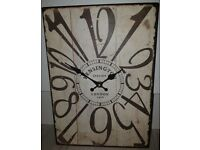 NEW - Large retro tin battery operated wall clock Approx 35cm tall x 25cm wide