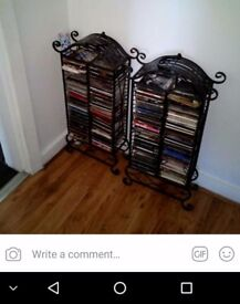 CD rack x2 for sale black wrought iron