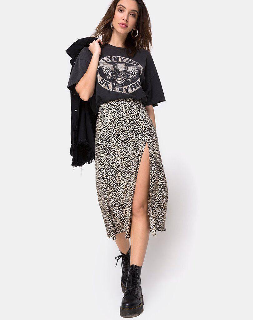 MOTEL ROCKS Saika Midi Skirt in Rar Leopard Brown