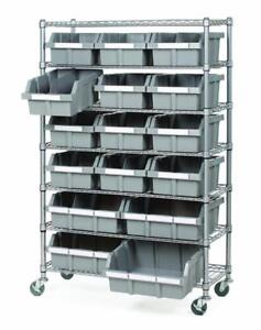 Commercial 7-Tier Platinum/Gray NSF 16-Bin Rack Storage System - BRAND NEW - FREE SHIPPING