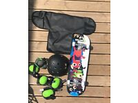 NEW LARGE SKATEBOARD WITH PROTECTIVE EQUIPTMENT