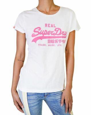 SUPER DRY AUTHENTIC WOMEN'S T-SHIRT VINTAGE BLACK LABEL COTTON S/S WHITE