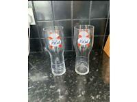 2 kronenbourg pint glasses