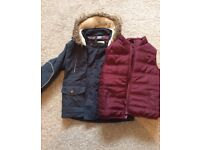 Marks & Spencer Blue Coat and Red Gilet 2- 3 years
