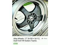 17x7.5 deep dish alloy wheels. 5x100. 5x112
