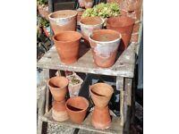10 vintage terracotta plant pots