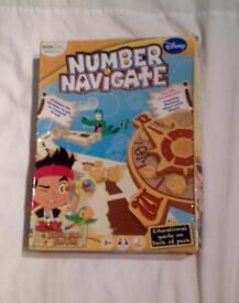 JAKE AND THE NEVERLAND PIRATES NUMBER NAVIGATE LEARNING BOARD GAME. COMPLETE AND VGC.