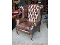 Queen Anne leather chesterfield wingback chair UK DELIVERY