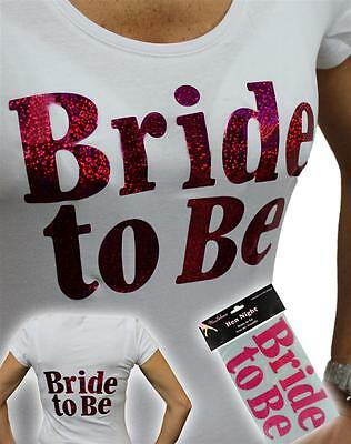 BRIDE TO BE Hen Night Party Accessory Hot Pink Easy Iron on Transfer