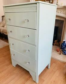 Stunning Laurel Green Chest of 4 Drawers with Glass Handles - I can deliver