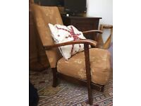Lovely Arts & Crafts style Fireside Low Vintage Arm Chair with Carved Detail