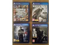 Ps4 games: Gta 5, Last of Us, Uncharted 4, Watchdogs