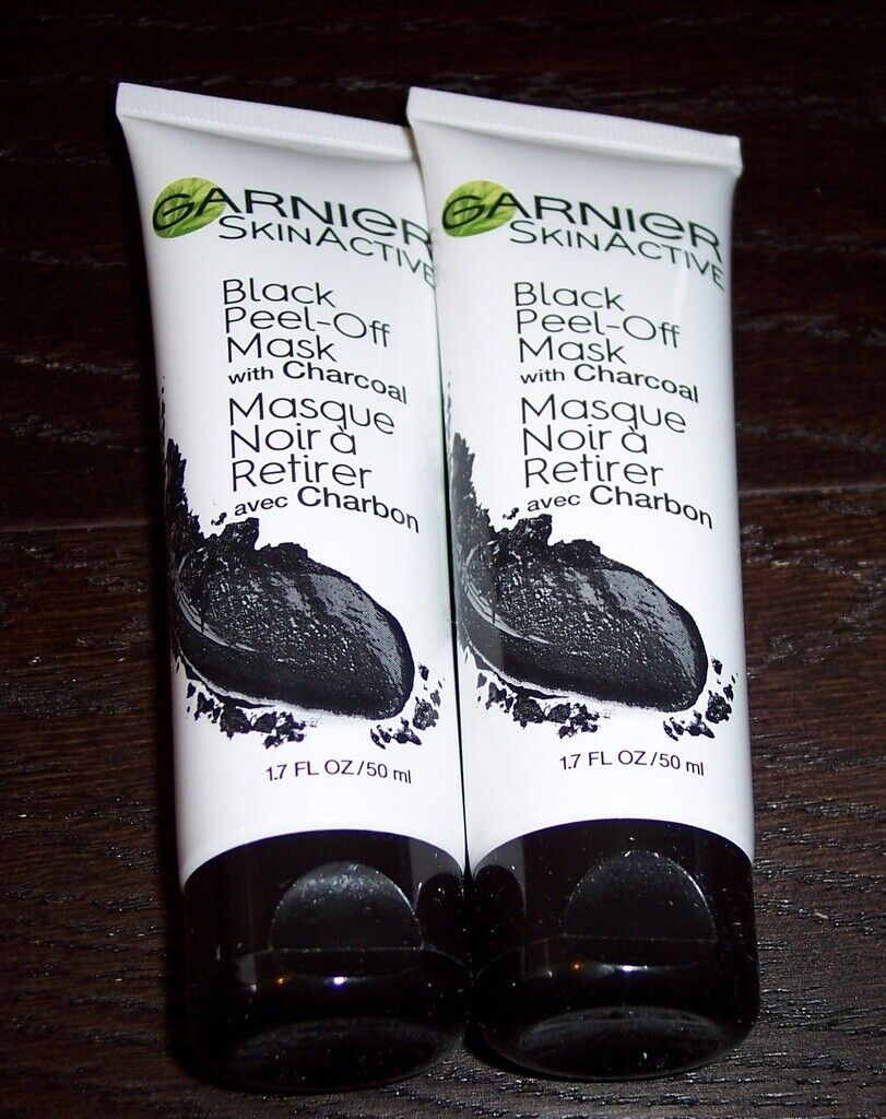 2 Garnier SkinActive Black Peel-Off Masks with Charcoal NO B