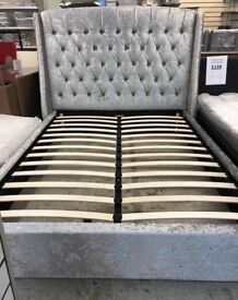 Crushed Velvet double and King Size Bed Frame with Headboard