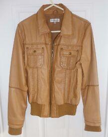 Ladies Tan Leather Jacket Size 14