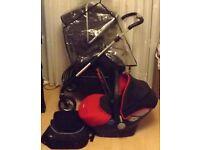 Silvercross Pioneer travel pram system in black ,+carseat +carrycot + bag etc