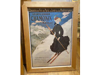 couple of Vintage Framed poster : Chamonix and Lac Léman
