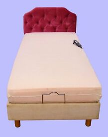 Electrically operated single bed with headboard & mattress