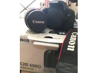 Canon 600D DSLR Camera with lens and accessories