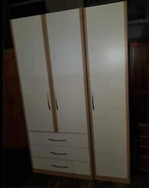 3 DOOR WHITE WARDROBE () - IN GOOD USED CONDITION can deliver