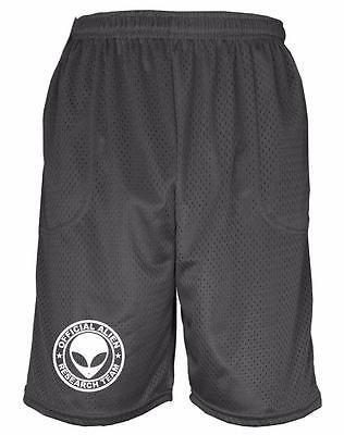 Mens Printed ALIEN RESEARCH TEAM Funny Basketball Gym School Uniform Mesh Pants - Alien Pants