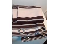 "Coffee & cream curtains with ring tops 46"" wide x 72 drop in excellent condition"
