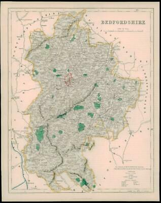 1842 - Original Antique Map of BEDFORDSHIRE by Fisher (39)
