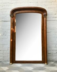 Tall Vintage Victorian Mantelpiece Mirror #615