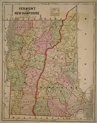 1856 Genuine Antique map of Vermont & New Hampshire. C. Morse