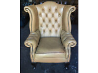 Light tan leather Chesterfield wingback chair