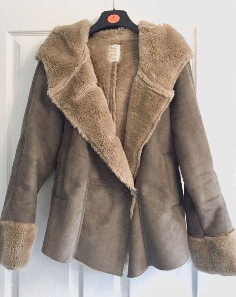 Womans Ladies Next Suede Hooded Coat Winter Size 12 Shearling Soft ...