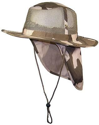 Summer Wide Brim Mesh Safari/Outback Hat W/Neck Flap #982 Desert Camo S
