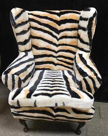 New Tiger Print Armchair with Matching Footstool