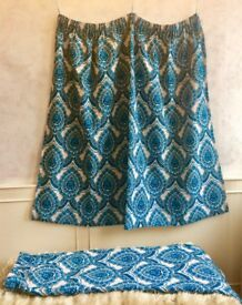 """Vintage 1960's Retro Electric Blue White Paisley Pair of Curtains (L-52"""" xW-65"""")"""