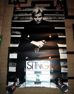 SCARCE 1986 STING ROCK N' ROLL MUSIC ROLLED VIDEO POSTER VF/EX