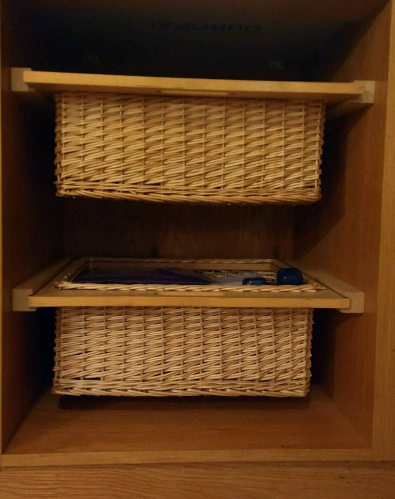Wicker Basket Storage Units With Runners For Kitchen