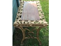 GARDEN TABLE /PUB TABLE CASE IRON WITH WOODEN CENTRE PANEL VINTAGE