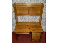 SOLID WOOD DESK BOOKCASE AND FILING CABINET
