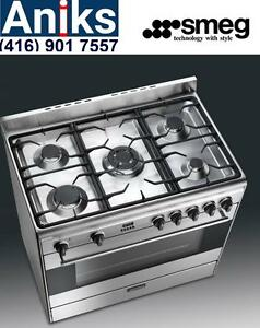 Smeg S9GMXU 36in Energy Star Dual Fuel Range 5 Sealed Burners 4.4 cu. ft. Convection Oven