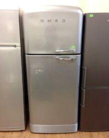 SMEG - Silver , 78cm wide RETRO FRIDGE FREEZER