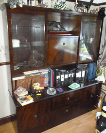 olished wood + glass cabinet with 2 drawers and 4 cupboards