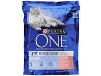 Purina ONE Adult Salmon & Whole Grains Dry Cat Food 800g £3, or 4 pks for £11